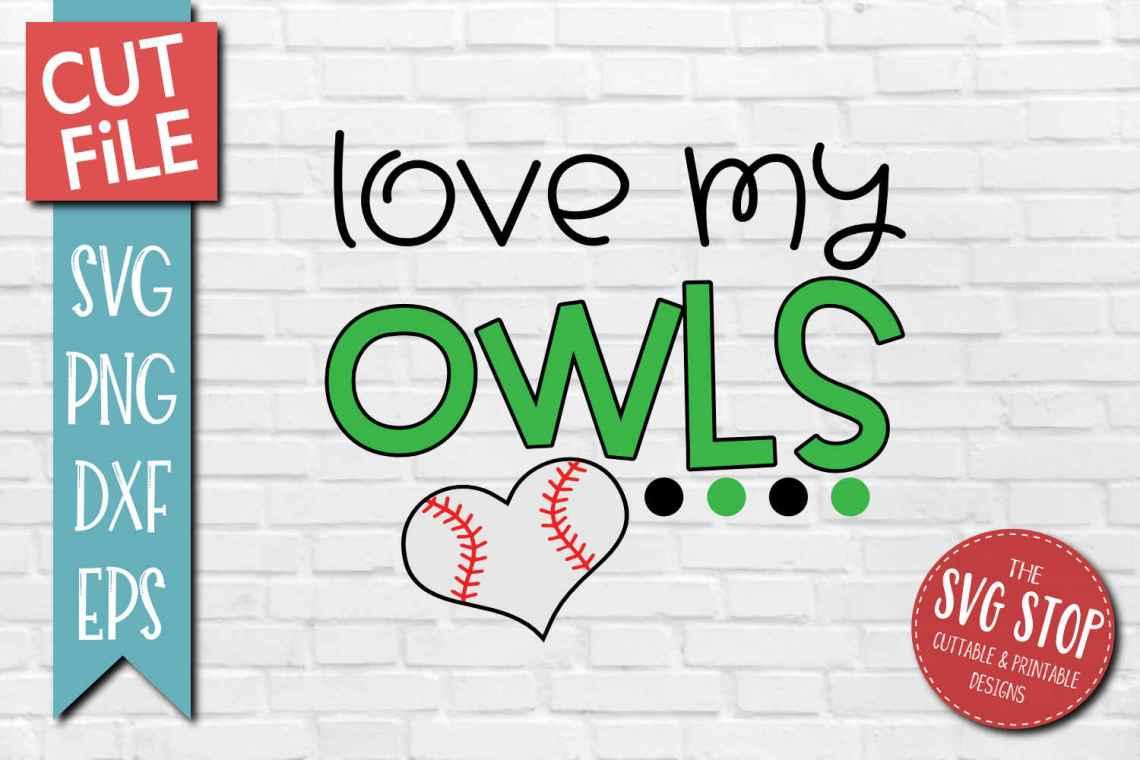 Download Baseball Love Owls - SVG, DXF, PNG, EPS - Cut File