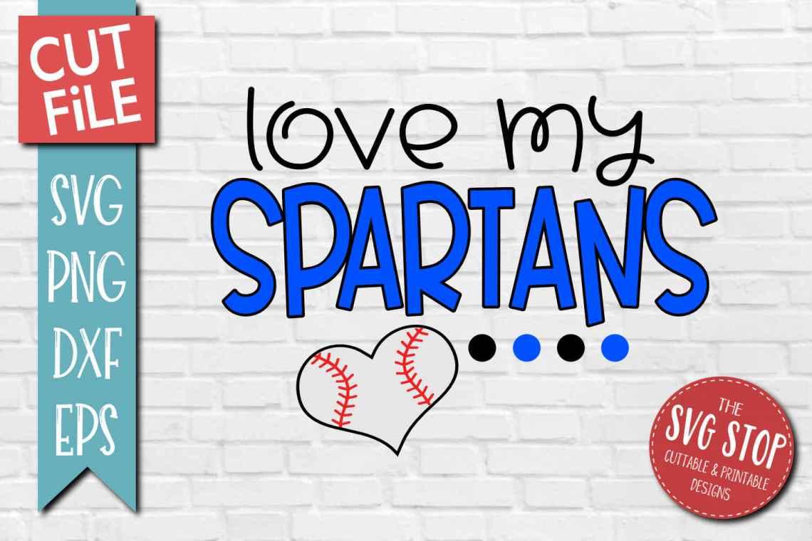 Download Baseball Love Spartans - SVG, DXF, PNG, EPS - Cut File