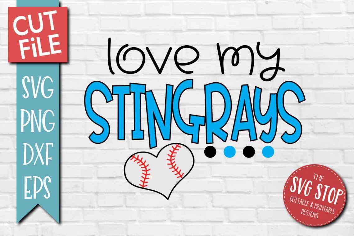 Download Baseball Love Stingrays - SVG, DXF, PNG, EPS - Cut File