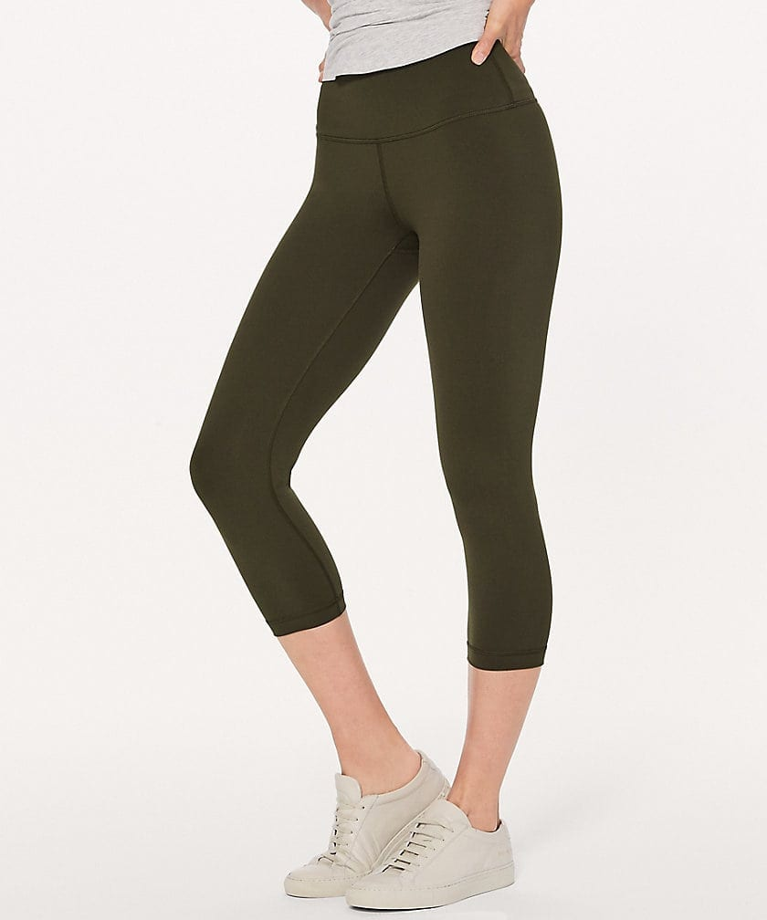 Dark Olive Wunder Under Crop Hi Rise