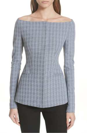 Theory McClair Plaid Off the Shoulder Jacket
