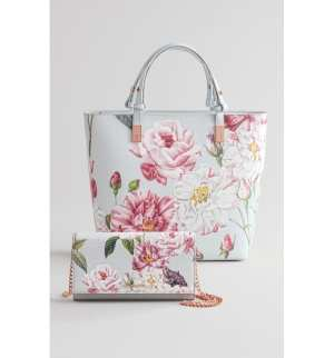 Ted Baker London Adjustable Handle Leather Tote Floral Print