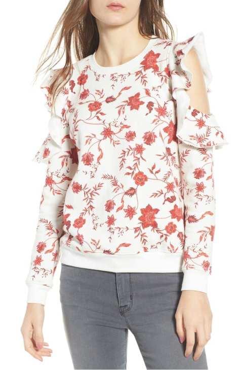 Gracie Cold Shoulder Floral Sweatshirt