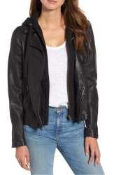 Hooded Leather Moto Jacket CASLON®