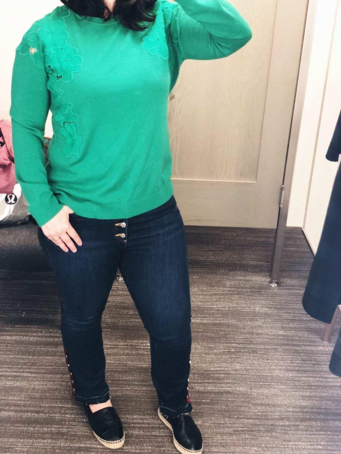 Nordstrom Anniversary Sale 2018 Dressing Room Selfies, Ted Baker Yizelda Sweater, Veronica Beard Jeans