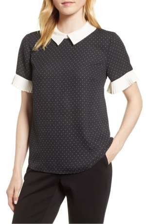 Pleat Sleeve Polka Dot Blouse CECE