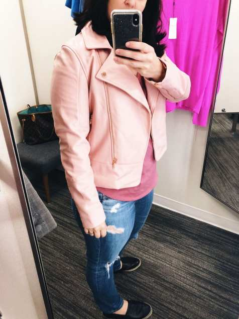 Ted Baker Pink Lizia Biker Jacket, Nordstrom Anniversary Sale 2018 Fitting Room Try-Ons