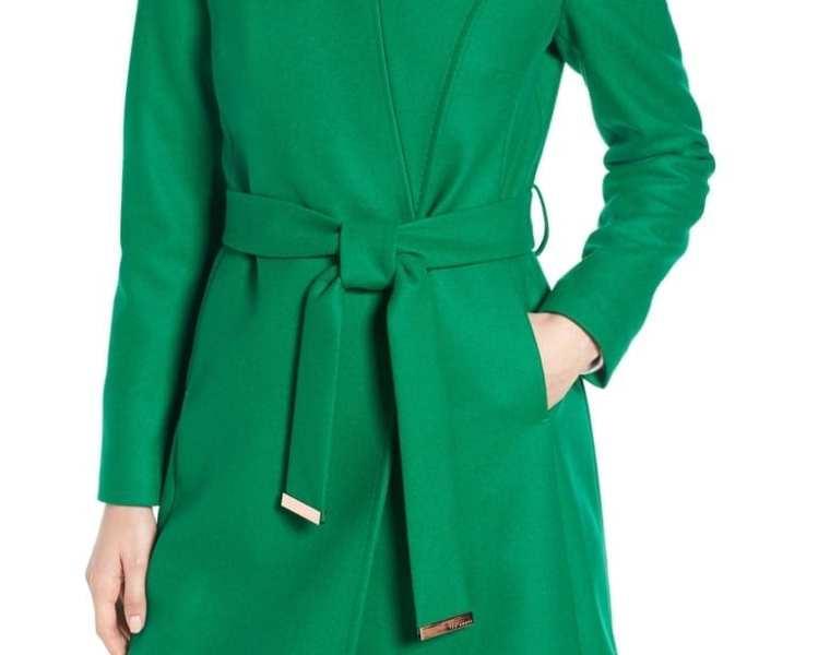Ted Baker Wool Blend Long Wrap Coat, Green, 2018 Nordstrom Anniversary Sale