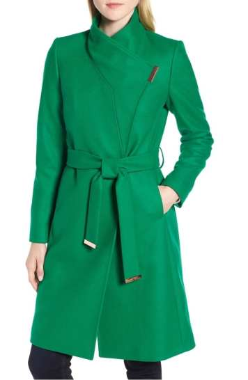 Ted Baker Wool Blend Long Wrap Coat, Green, 2018 Nordstrom Anniversary Sale