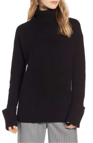HALOGEN® WIDE CUFF TURTLENECK CASHMERE SWEATER , Black