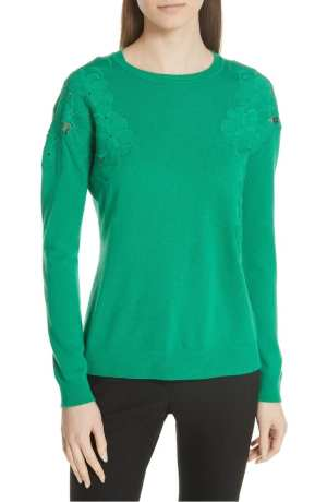 Yizelda Lace Shoulder Sweater TED BAKER LONDON Green