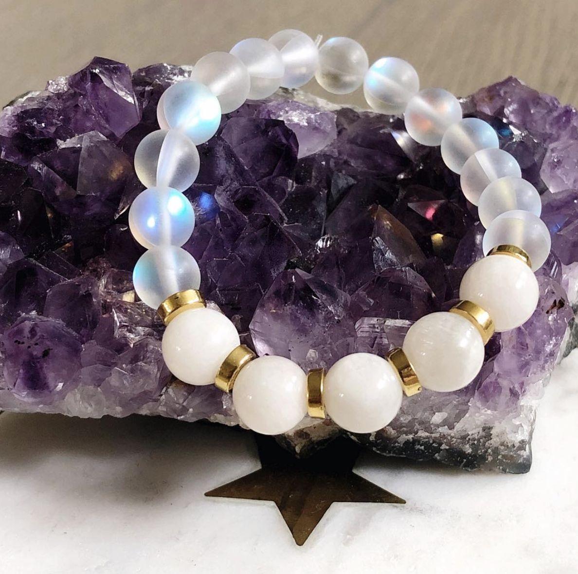 Empress Mala Designs, Moonstone and Aura Quartz Mala Bead Bracelet, Made In Canada