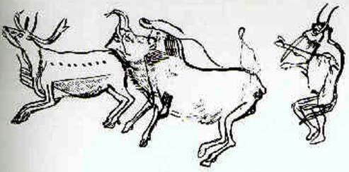 Illustration de la transformation chamanique, grotte des Trois-Frères, Ariège