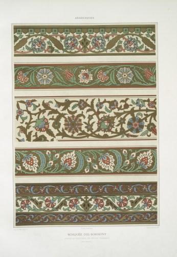 Prisse d'Avennes - L'art arabe 4 - mosquée d'El-Bordeyny frises et bordures des petites chambres (XVIIe. siècle) (1877)