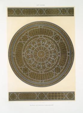 Prisse d'Avennes - L'art arabe 8 - plateau en bronze damasquiné (1877)