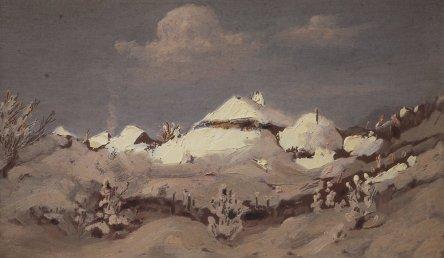 Arkhip Ivanovich Kuindzhi - Hiver. Lumière sur le toit des huttes - 1890-1895