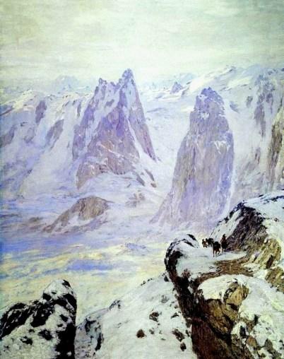 Nikolai Nikanorovich Dubovskoy - Crépuscule dans les Alpes - 1909