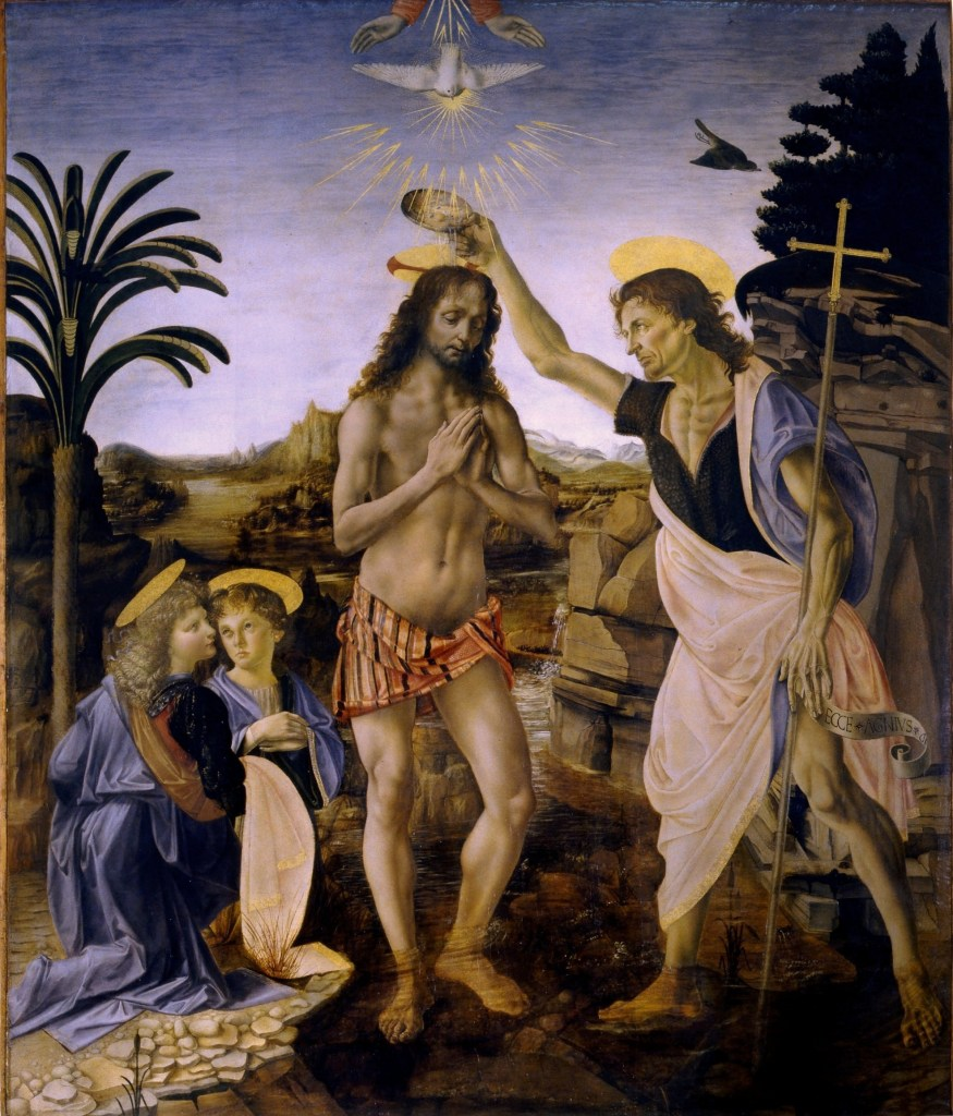 Andrea del Verrocchio et Leonardo da Vinci - Le baptême du Christ - 1472-75 - 177 × 151 cm - Galerie des Offices - Florence