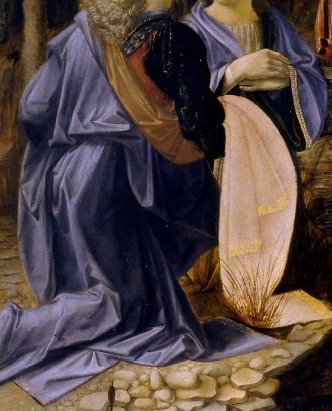 Andrea del Verrocchio et Leonardo da Vinci - Le baptême du Christ (détail des drapés) - 1472-75 - 177 × 151 cm - Galerie des Offices - Florence