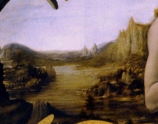 Andrea del Verrocchio et Leonardo da Vinci - Le baptême du Christ (détail du paysage) - 1472-75 - 177 × 151 cm - Galerie des Offices - Florence