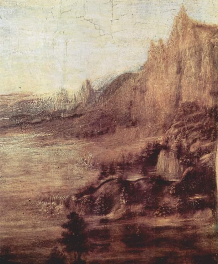 Andrea del Verrocchio et Leonardo da Vinci - Le baptême du Christ (détail du paysage - HD) - 1472-75 - 177 × 151 cm - Galerie des Offices - Florence