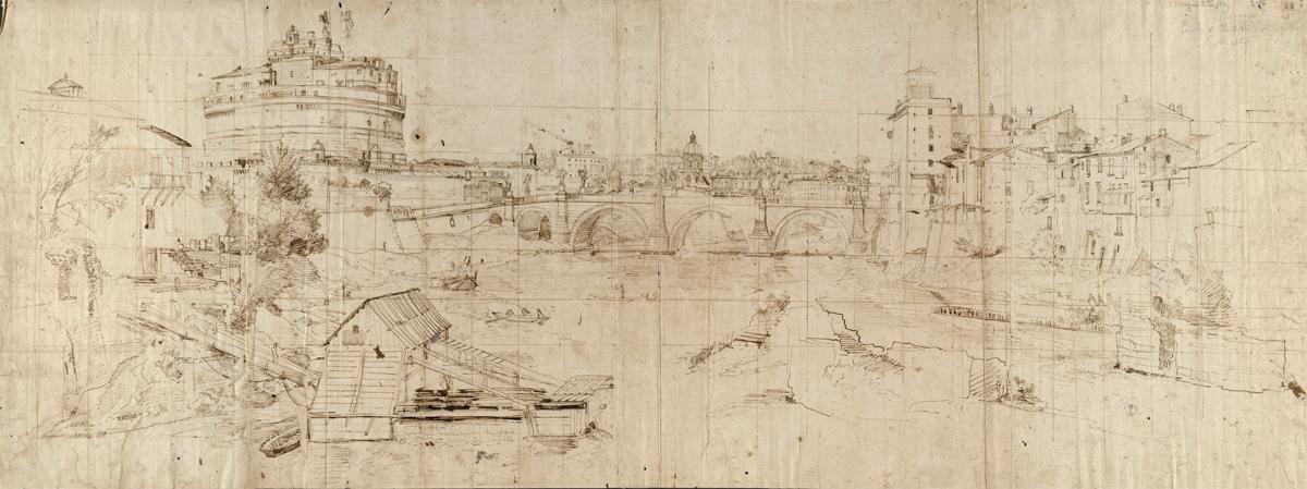 Gaspar Vanvitelli - Veduta di Castel Sant'Angelo da sud