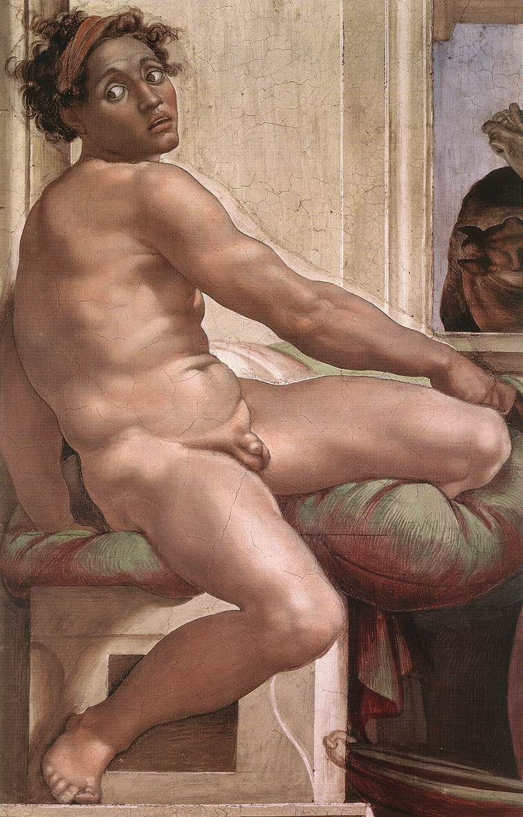 Michelangelo Buonarotti - Ignudo - Chapelle Sixtine - 1509 - 756x1180