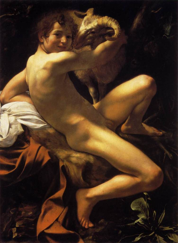 Michelangelo Merisi da Caravaggio - le jeune Saint Jean-Baptiste au bélier - 1602 - 129 x 95 - Rome, Musei Capitolini, Pinacoteca
