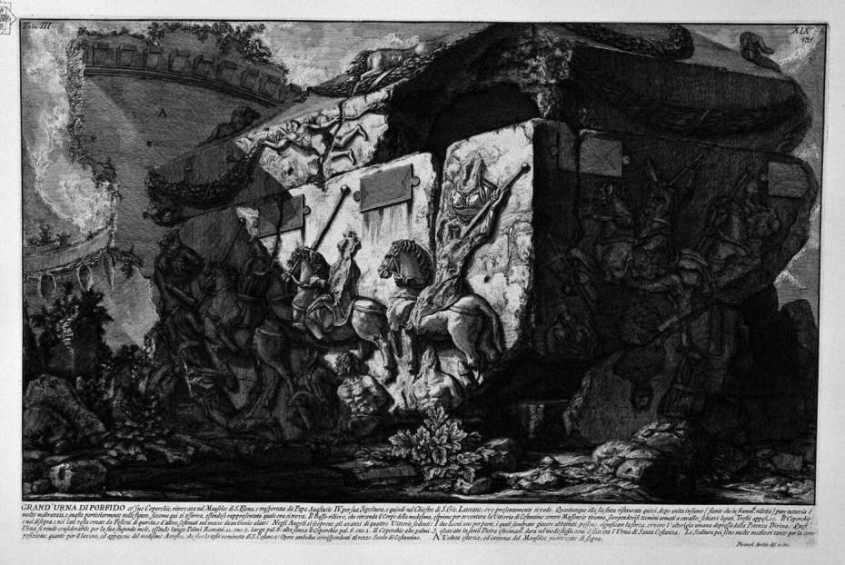 Giovanni Battista Piranesi - Les antiquités romaines - Tome 3 planche XIX - Grande urne de porphyre avec son couvercle touvé dans le mausolée de Sainte Hélène et actuellement dans le cloître de Saint Jean de Latran