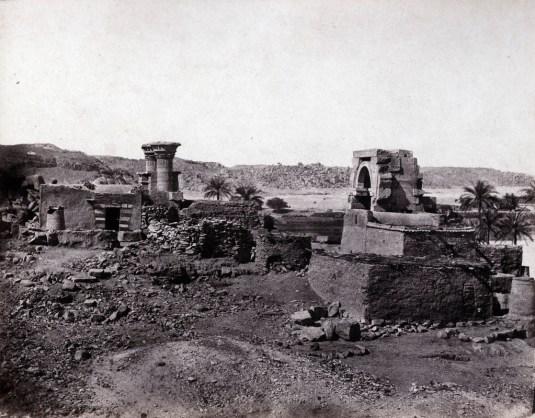 Maxime du Camp - village et temple de l'île de Biggeh, Karnak, Egypte, 11 avril 1850
