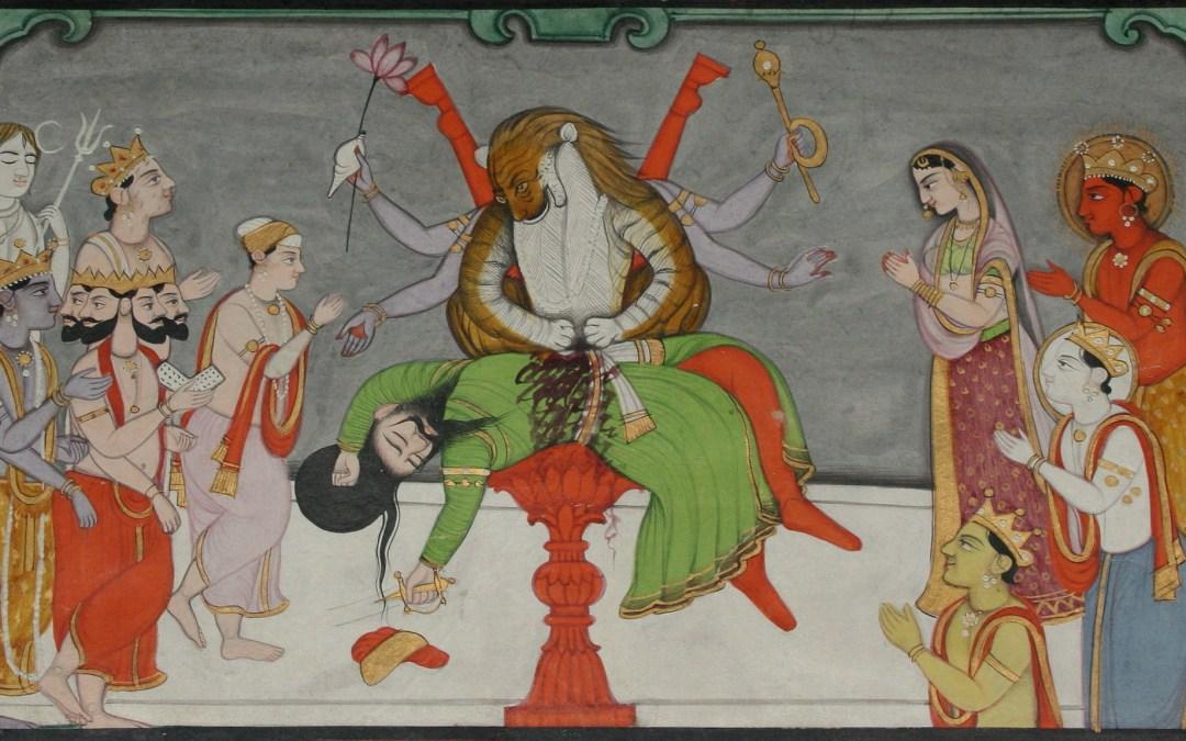 Narasimha déchirant le corps d'Hiranyakashipu