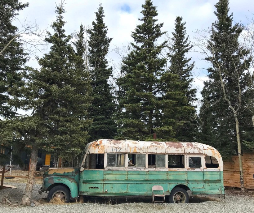 Bus from the movie 'Into The Wild' at 49th State Brewing Co in Healy, Alaska