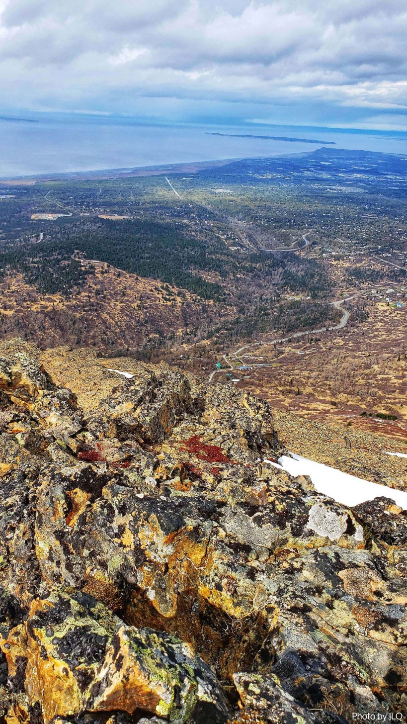 Views of Anchorage at the top of Flattop mountain in Chugach State Park