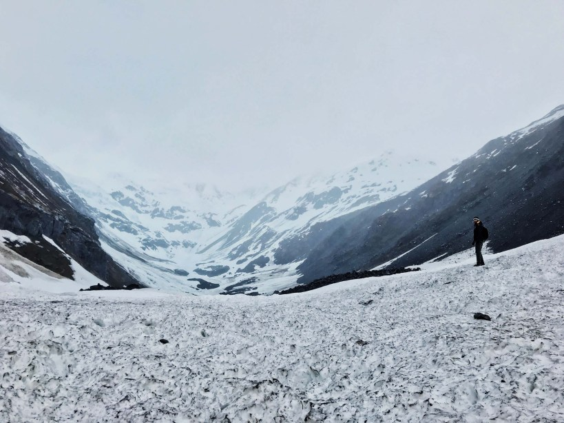 View from the top of an Avalanche at Byron Glacier in Girdwood, Alaska