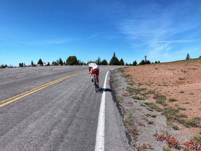 Rider, AP, on the Rim Drive climb