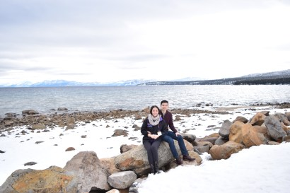 Our recent trip to Tahoe. Doubling up on the skeins makes a perfect, chunky scarf for low temperatures.