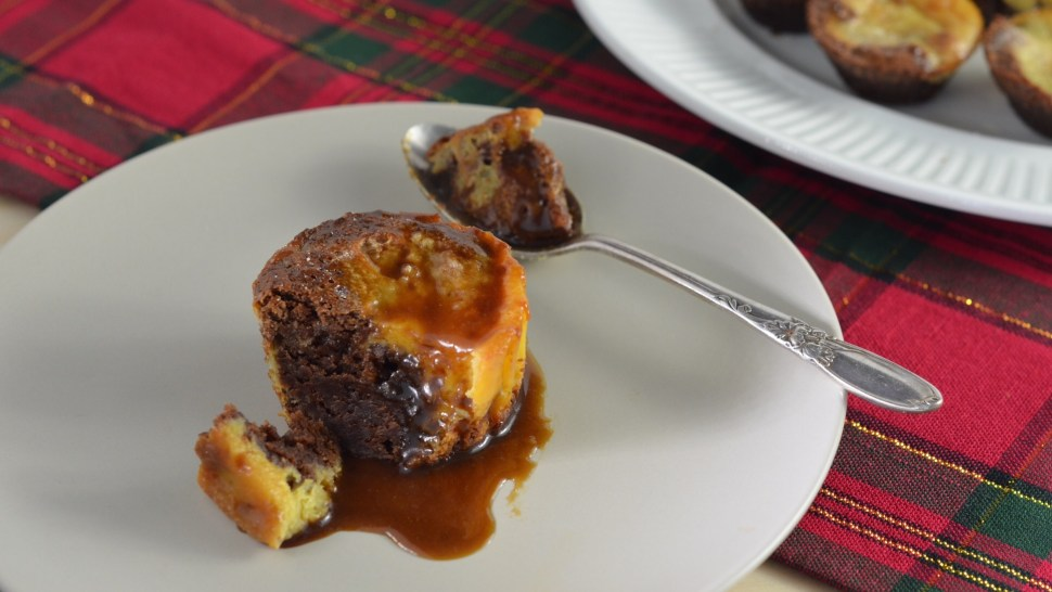 Custard brownies. Brownies combined with custard. dessert, caramel.