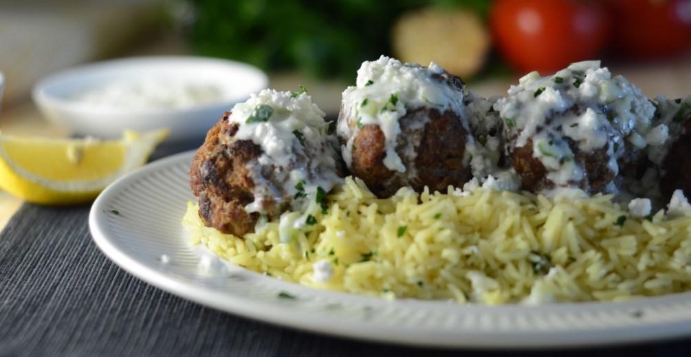 meatballs and tzatziki with lemon rice pilaf, greek inspired