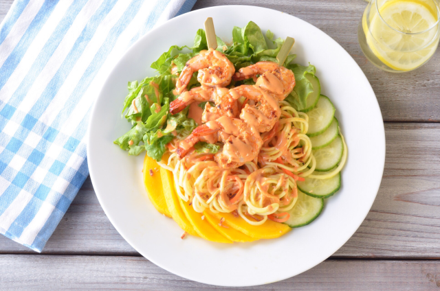 Zoodle Shrimp Salad with Tahini Sriracha Dressing