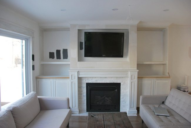 living room fireplace off centered paint ideas grey sofa how to design and build gorgeous diy built ins the in shelving 10 via sweetest digs