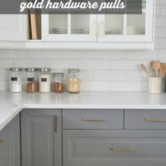 Kitchen Pulls Small Buffet How To Choose And Install Gold Hardware In Your The Design Gray White Cabinetry Ikea