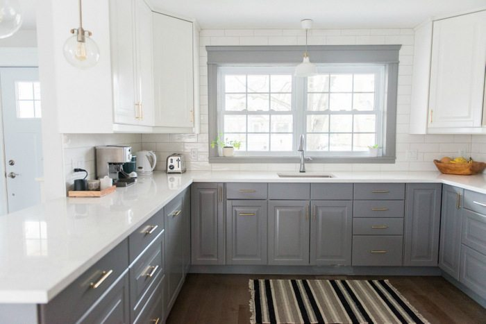 ikea kitchen countertops small island for a gray and white transformation the sweetest digs makeover using cabinetry quartz subway tile