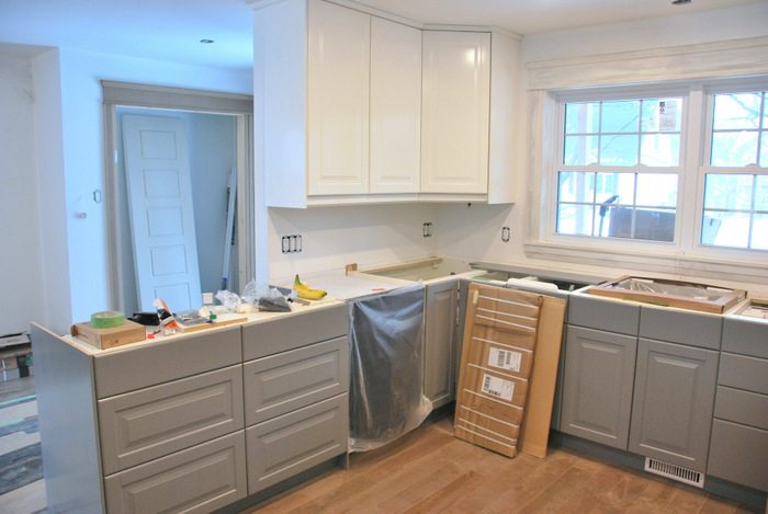 ikea kitchen countertop sink white a gray and transformation the sweetest digs makeover using cabinetry quartz countertops subway tile