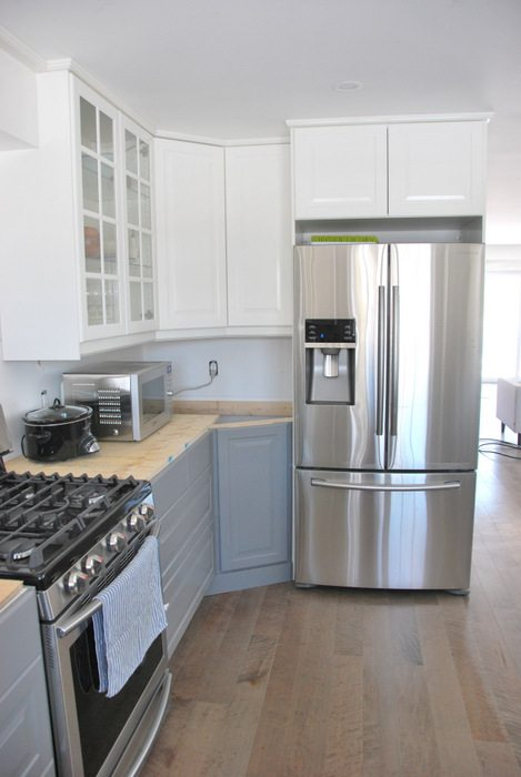 gray kitchen floor equipment used a and white ikea transformation the sweetest digs makeover using cabinetry quartz countertops subway tile