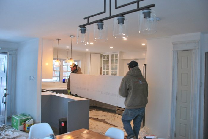 gray kitchen floor play kitchens for boys a and white ikea transformation the sweetest digs makeover using cabinetry quartz countertops subway tile