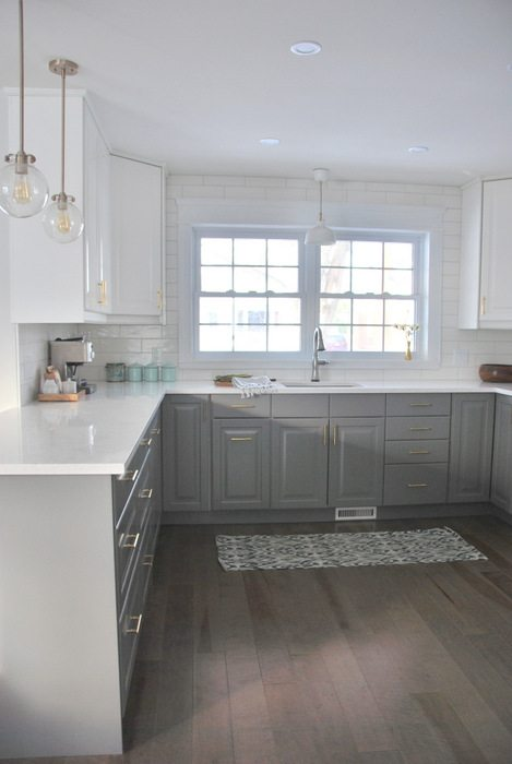 gray kitchen floor power grommet a and white ikea transformation the sweetest digs makeover using cabinetry quartz countertops subway tile
