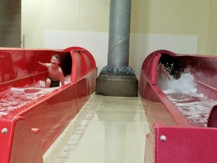 Boys raced down the big slides forever!!