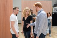 Ben Batt (Andrews), Nancy Carroll (Maggie) and Joe Murphy (Director). Woyzeck at The Old Vic, photo by Manuel Harlan