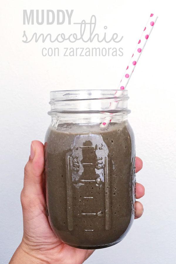smoothie con zarzamoras, espinaca y otras frutas y verduras