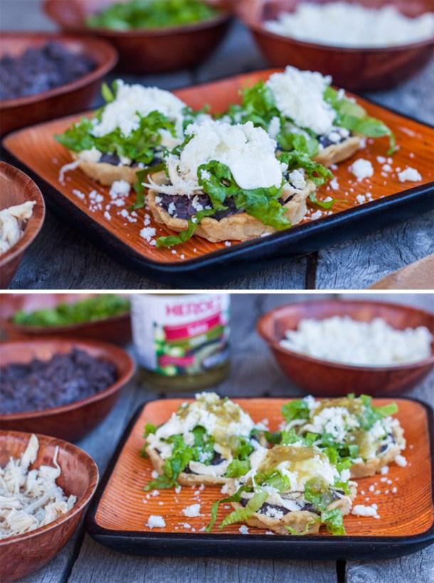 plato con sopes antes y después de ponerles salsa verde